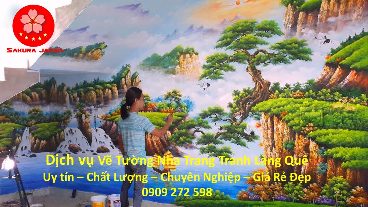 Vẽ Tranh Tường Làng Quê Nha Trang Chuyên nghiệp nhất