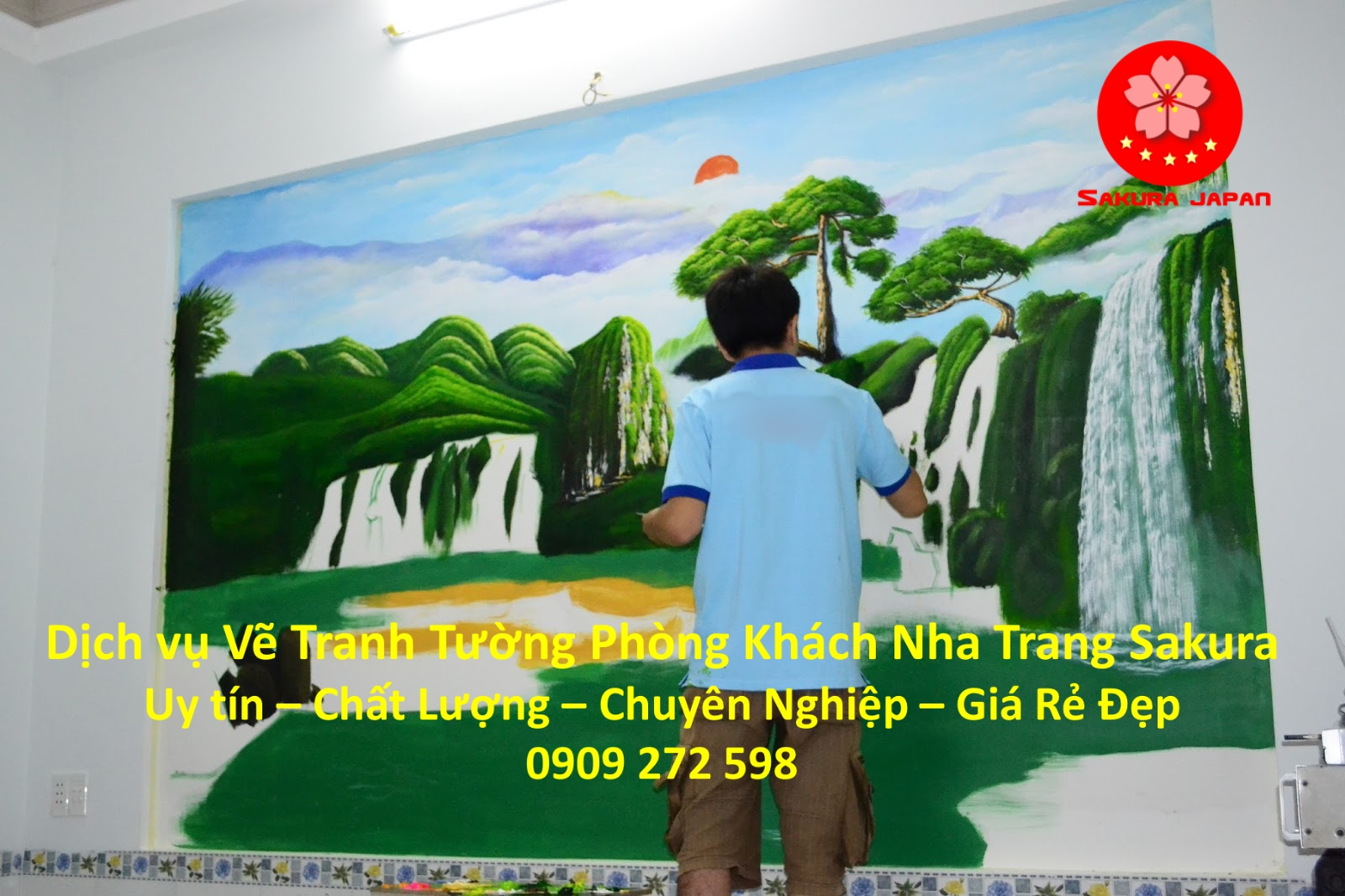 Vẽ Tranh Tường Phòng Khách Nha Trang Chuyên nghiệp Uy Tín Rẻ Đẹp Nhất