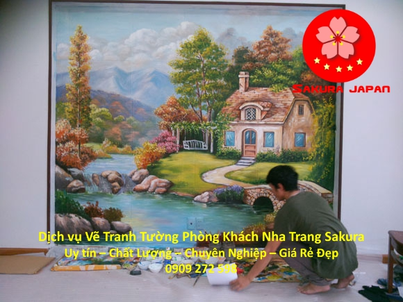 Vẽ Tranh Tường Phòng Khách Nha Trang Chuyên nghiệp Rẻ Đẹp Nhất