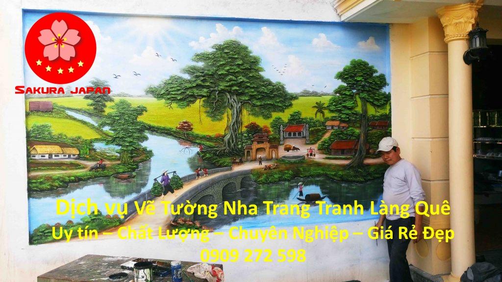 Vẽ Tranh Tường Làng Quê ở tại Nha Trang Đẹp nhất