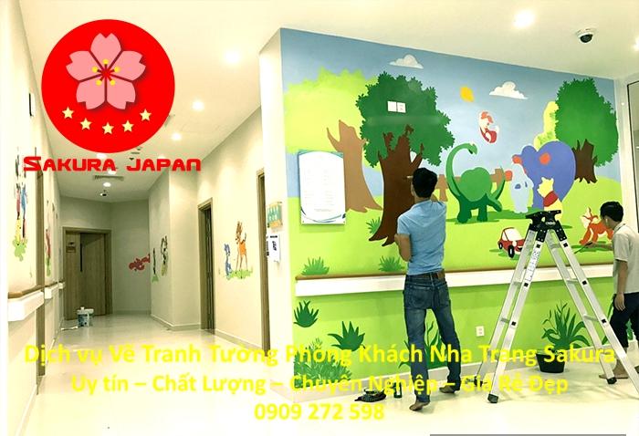 Vẽ Tranh Tường Phòng Khách Nha Trang Rẻ Đẹp