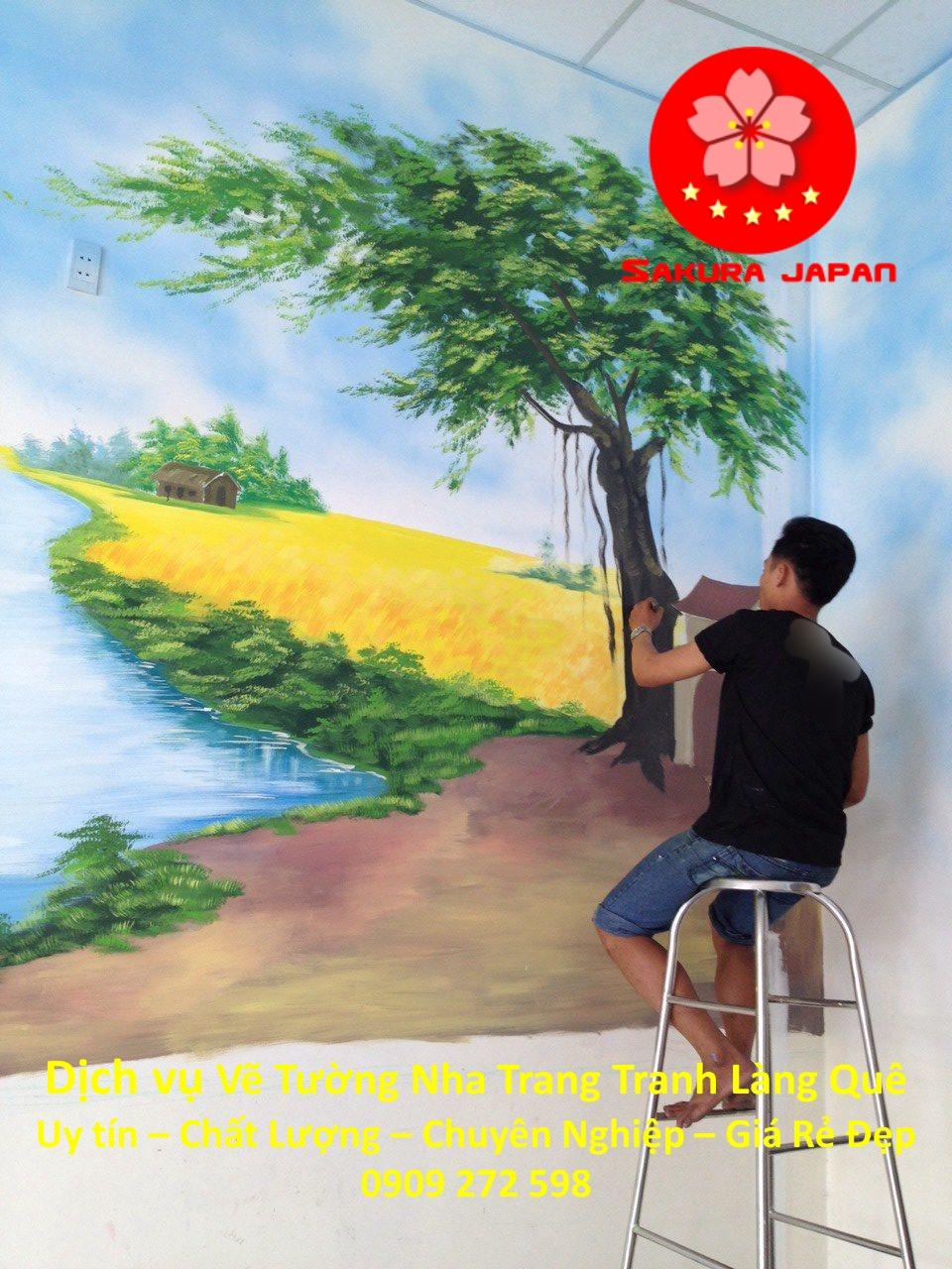 Vẽ Tranh Tường Làng Quê Nha Trang Rẻ Đẹp nhất 7