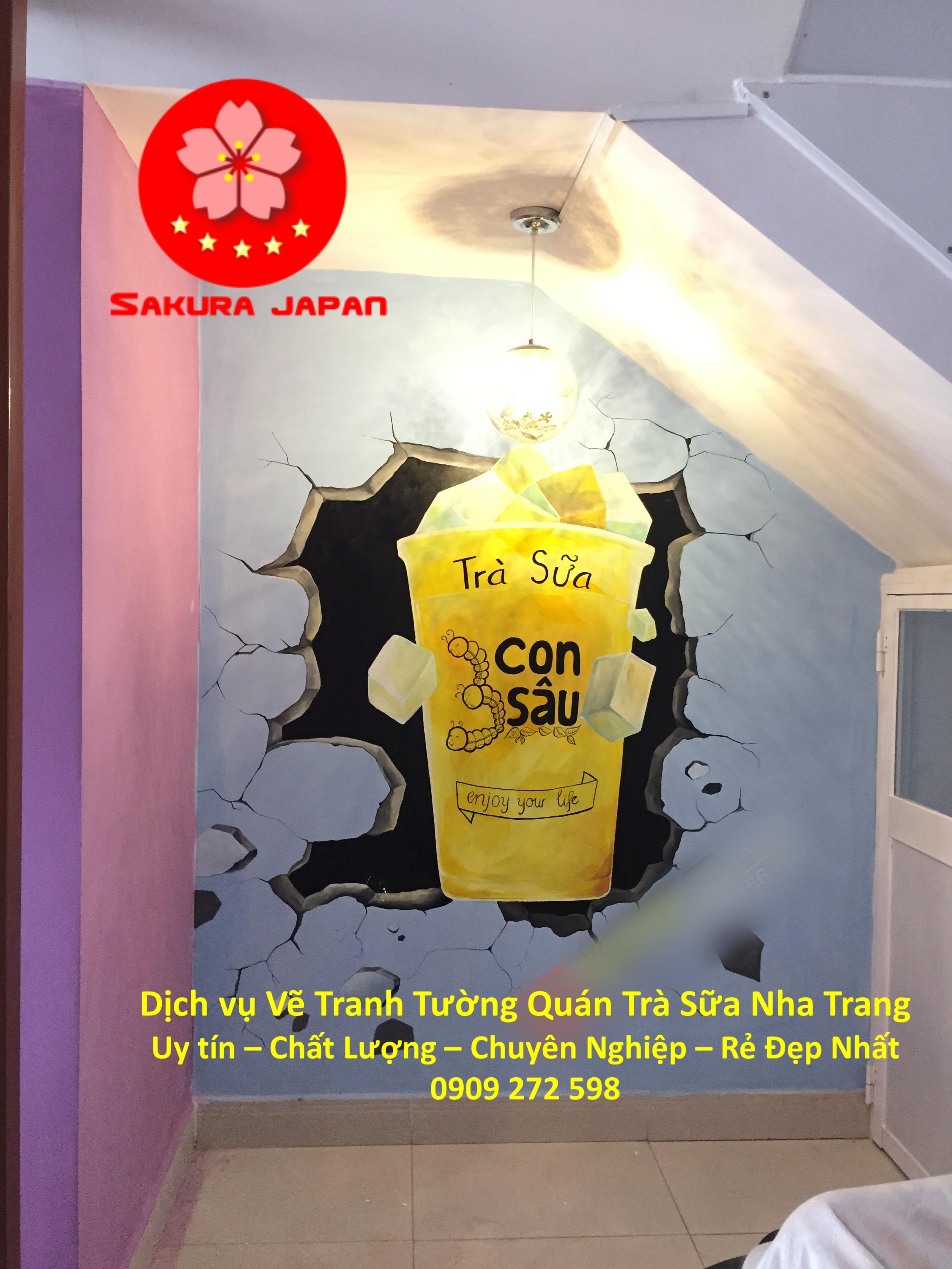 Vẽ Tranh Tường Quán Trà Sữa Nha Trang Rẻ Đẹp 7