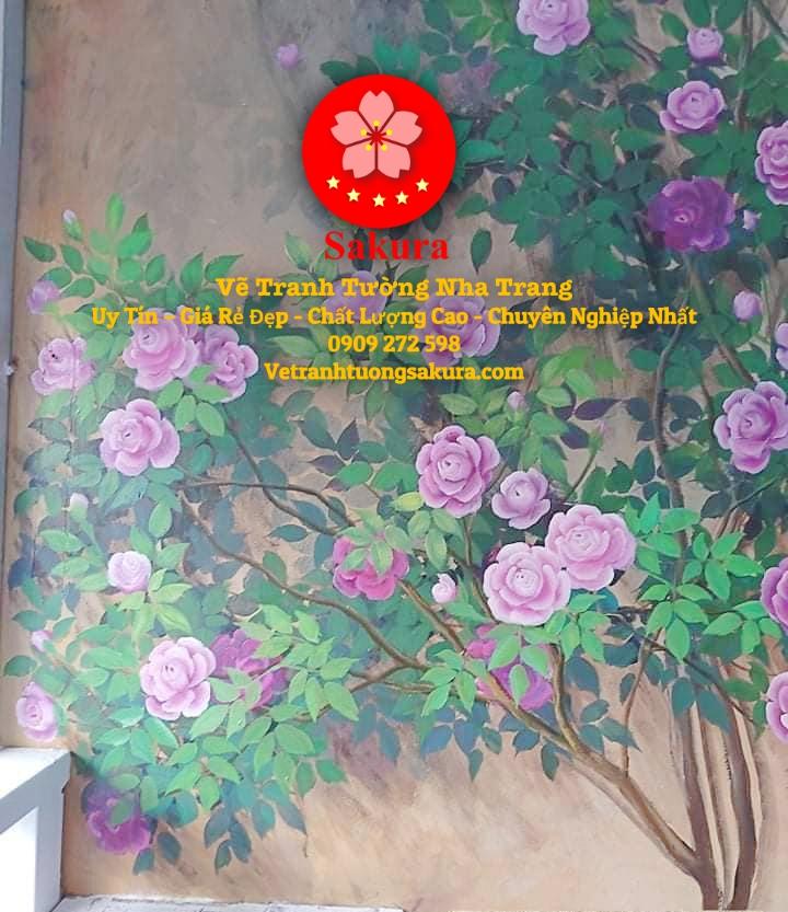 Mẫu Tranh Tường Hoa Lá Nha Trang 7