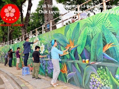 Mẫu Tranh Tường Hoa Lá Nha Trang