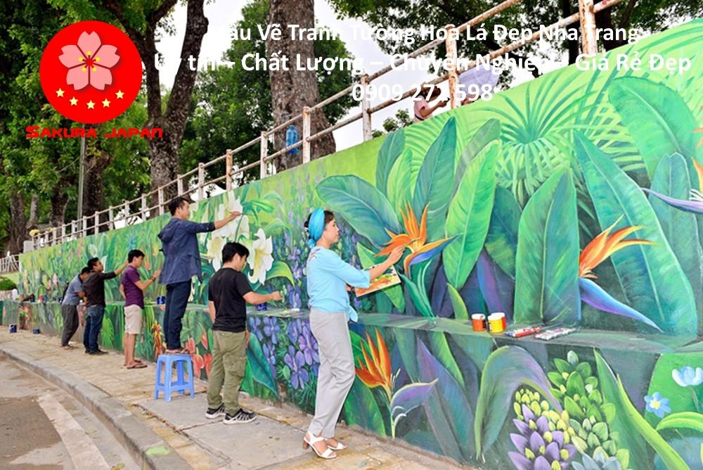 Mẫu Tranh Tường Hoa Lá Nha Trang 4