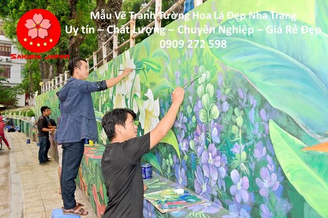 Mẫu Tranh Tường Hoa Lá Nha Trang 3
