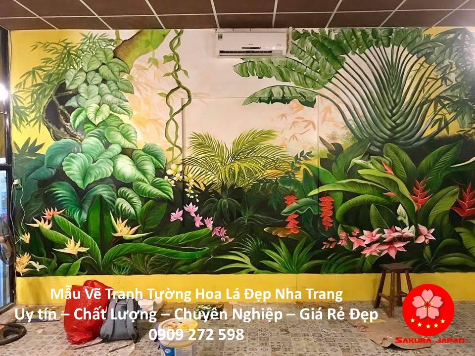 Mẫu Tranh Tường Hoa Lá Nha Trang 5
