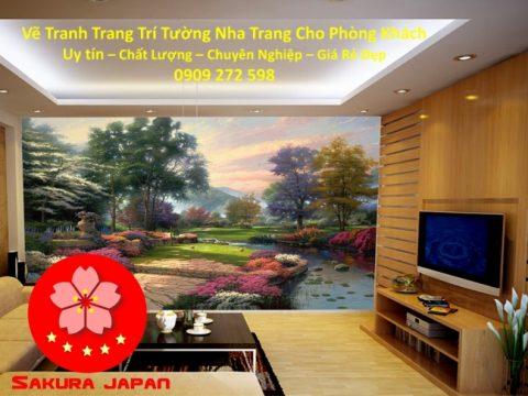 Vẽ Tranh Tường Nha Trang Cho Phòng Khách