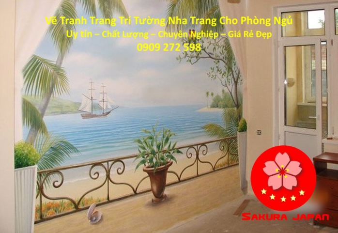 Vẽ Tranh Tường Nha Trang Cho Phòng Ngủ Rẻ Đẹp Nhất 3