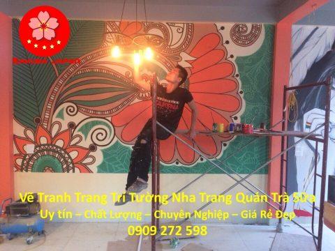 Vẽ Tranh Tường Nha Trang Cho Quán Trà Sữa