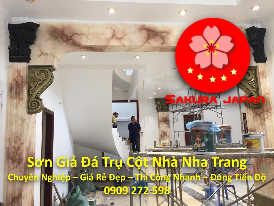 Thi Công Sơn Giả Đá Trụ Cột Cổng Nhà Nha Trang